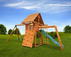 The Dream Swing Set #5 is a perfect set with monkey bars, and a wood roof. Lots of room to grow with the family! A very popular model. Swing set comes complete with everything pictured.
