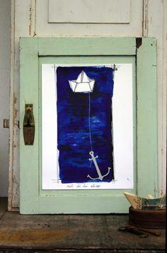 """Illustration print from my original artwork  """"nel di lui abisso"""""""