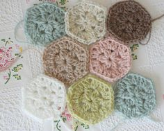 Color Inspiration :: Tiny hexagons in pastel shades, by Vanessa of Coco Rose Diaries; no pattern or yarn details.   . . . .   ღTrish W ~ http://www.pinterest.com/trishw/  . . . .   #crochet