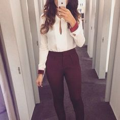 This pants and white blouse combo.