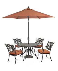 "Chateau Outdoor Patio Furniture, 5 Piece Set (48"" Round Dining Table and 4 Dining Chairs)"