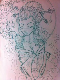 geisha sketch | Japanese geisha sketch by ~5stardesigns on deviantART - WOW WOW AND WOWWWWWWWWW LOVE IT! #japanesetattoos