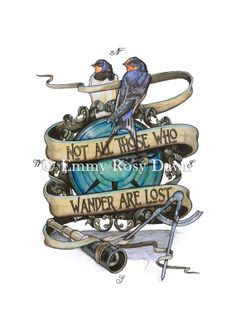 Not All Those Who Wander are Lost A4 giclee by EmmyRosyDawn, £25.00