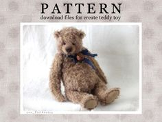 Your place to buy and sell all things handmade Plushie Patterns, Stuffed Toys Patterns, Baby Patterns, Sewing Patterns, Sewing Kit, Sewing Toys, Sleepy Bear, Teddy Toys, Vintage Teddy Bears