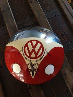 Vintage VW Hubcap VW Bus Art with Pinstriping VW Split Window Volkswagen by VanePinstriping on Etsy