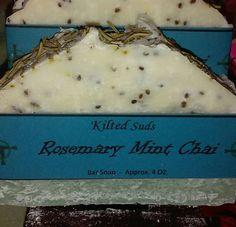 Rosemary, Mint & Chai Handmade Soap, Natural Soap, Organic Soap, Mint Soap, Vegan Soap, Artisan Soap, Cold Process, Bar Soap - pinned by pin4etsy.com