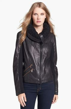 Sam Edelman Knit Collar Leather Jacket available at #Nordstrom