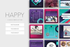 Happy Social Media Kit by Mariana Pacheco on @creativemarket