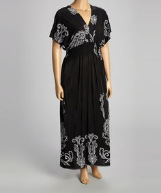 Another great find on #zulily! Black Paisley Shirred Maxi Dress - Plus #zulilyfinds