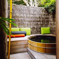 I would love this cedar soaking tub, reminds me of my happy place: 10,000 waves in Santa Fe, NM.