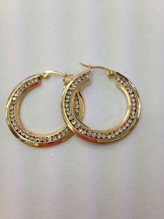 Boucles d'oreilles acier doré avec strass palé 20cm Hoop Earrings, Bracelets, Gold, Jewelry, Rhinestones, Ears, Steel, Boucle D'oreille, Locs