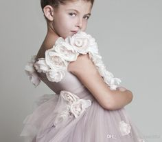 The ivory flower girl dresses cheap which match the flowers-2014 new lovely new tulle ruffled handmade flowers one-shoulder flower girls' dresses girl's pageant dresses is offered in dress_beautiful and on DHgate.com ivory flower girl dresses for toddlers along with ivory flower girls dresses are on sale, too.