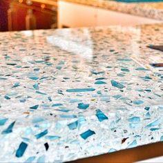 Vetrazzo: Floating Blue - - kitchen countertops - austin - by Dorado Stone Distributors Blue Kitchen Countertops, Recycled Glass Countertops, Kitchen Countertop Materials, Concrete Countertops, Vinyl Countertops, Marble Counters, Kitchen Island, New Kitchen, Kitchen Decor