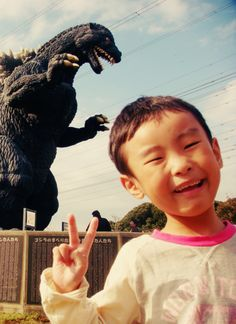 Look out, kid!  Godzilla is behind you! ~~ Houston Foodlovers Book Club