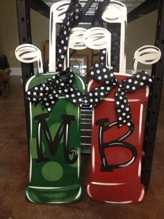 Monogrammed Wreath/ Hand Painted/ Golf by SouthernStyleGifts
