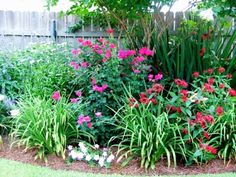 The beautiful flower bed in the picture above, features the pink knockout rose, Shasta Daisies and Daylilies. West side of the house underneath guest bedroom window.