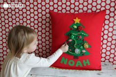 My Sister's Suitcase: Kids Christmas Pillows : A Christmas tree pillow, with removeable ornaments and decorations.