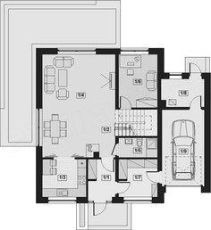 Rzut parteru projektu Galilea BIS Floor Plans, Cottage, Flooring, How To Plan, Future, Future Tense, Cottages, Hardwood Floor, Cabin
