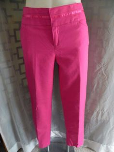 Women's Luciano Dante Solid Bright Pink Stretch Slim Leg Ankle Pants - Size 10 #LucianoDante #CasualPants