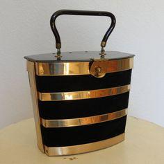 50s handbag / DorsetRex Brass and Velvet Box by swansongvintage1, $46.00