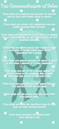 Ten Commandments of Salsa Dancing - very true and very funny also :) #salsadance