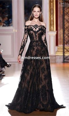 Sexy+Long+Sleeves+Prom+Dresses+Lace+Black+Evening+Dresses+Celebrity+Dresses