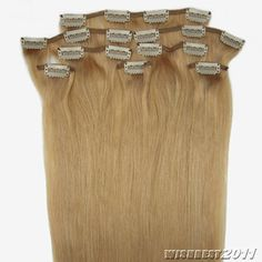 20''8Pcs Clips On Straight 100% Remy Human Hair Extensions #27,&100g with clips
