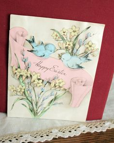 Vintage Easter Greeting Card Diecut Birds Flowers 1940s Easter Greeting  Cards e3a11e31f204