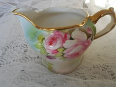 Vintage Antique Porcelain Nippon Hand Painted Footed Creamer with Gold Trim, Pink/White Flowers, Green Leaves, Shabby Chic, Home Decor by TreasuredMemoriesSC on Etsy