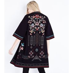 Black Floral Cross Stitch Kimono Cardigan ($54) ❤ liked on Polyvore featuring tops, cardigans, black pattern, floral tops, print cardigan, print kimono, kimono cardigans and embroidered top