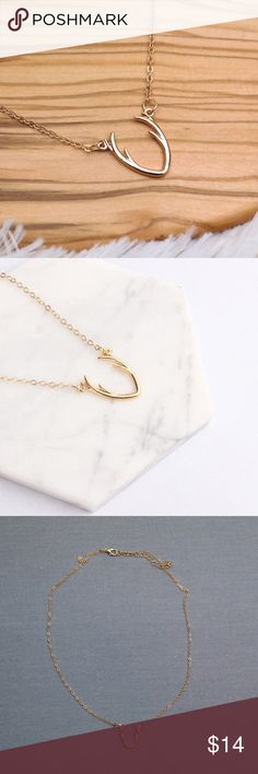 Gold Antler Necklace 1 Necklace Gold Plated Chain length is adjustable New in package REVITALIZED Jewelry Necklaces