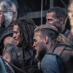 """Alexander Dreymon as Uhtred of Bebbanburg (with Tobias Santelmann as Ragnar (front)) in """"The Last Kingdom"""" Last Kingdom Season 2, The Last Kingdom, Lagertha, Tobias Santelmann, Uhtred Of Bebbanburg, Ancient English, Vikings Show, Alexander Dreymon, Queen Of Nothing"""