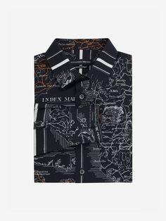 32468a855af55 ALEXANDER MCQUEEN Long Sleeve Shirt Man Small Map Print Poplin Shirt f Man  Weave