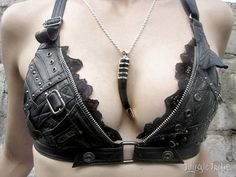 Voluptuous Vixen Leather Bra Halter Top - Leather and Lace