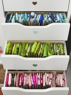 12 Creative Craft Room Storage Ideas: Drawers Full of Ribbon >> http://www.diynetwork.com/decorating/12-creative-craft-room-storage-ideas/pictures/index.html?soc=pinterest