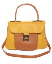 Lulu's Junior Companion tan and yellow handbag