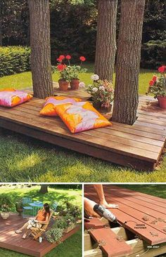Top 19 Simple and Low-budget Ideas For Building a Floating Deck Feste Home Deco. Top 19 Simple and Low-budget Ideas For Building a Floating Deck Feste Home Decor Small Backyard Design, Small Backyard Patio, Deck Design, Backyard Landscaping, Backyard Ideas, Patio Ideas, Backyard Pools, Garden Ideas, Pergola Ideas