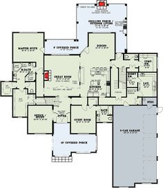Luxurious 5-Bed House Plan With Dramatic Overlook - 60706ND floor plan - Main Level