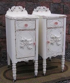 White Angel Nightstands - Shabby Vintage Chic Painted Furniture