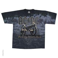 AC/DC - Cannon (T-Shirt, Farbe: batik blau schwarz, Größe: XL)