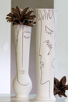 Keramikvase Vase mit Gesicht