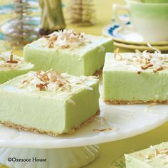 Gooseberry Patch Recipes: Cool and creamy Velvety Lime Squares - perfect summertime dessert!