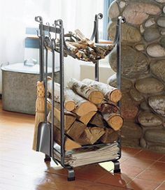 36 The Best Firewood Storage Design Ideas - It's hard to deny the comfort you get from a wood burning fire but storing a winter supply of firewood takes up a lot of space. A firewood storage rac. Indoor Firewood Rack, Firewood Holder, Outdoor Wood Burning Fireplace, Wood Holder For Fireplace, Storage Design, Storage Ideas, Hearth, Home Decor, Design Ideas
