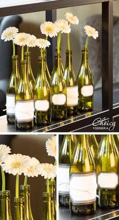#DIY with wine bottles! http://www.choicy-gerbera.nl/galerijitem/diy-wijnflessen/