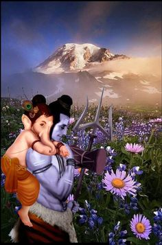 Lord Shiva and Bal Ganesh playing in creative art painting