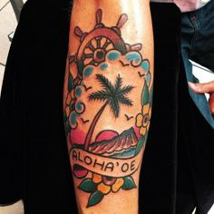 This cool tattoo features Diamondhead and the traditional Hawaiian greeting.