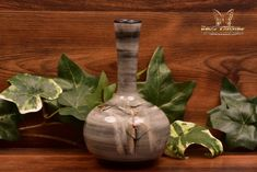 Pillin Pottery Mid Century Modern Birds and Branches Gray Bottle Vase - The Kings Fortune Bottle Vase, Modern Ceramics, Winter Scenes, Branches, Mid-century Modern, Backdrops, Restoration, Mid Century, Pottery