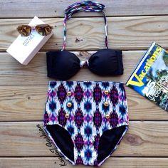Black Aztec High Waist Bikini by KoalaTFashion on Etsy