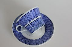 Lobelia coffee cup by Arabia Finland by FinnishTreasures on Etsy,