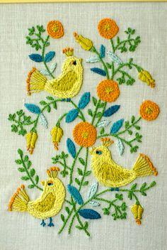 Vintage Needlework Wall Hanging Bird